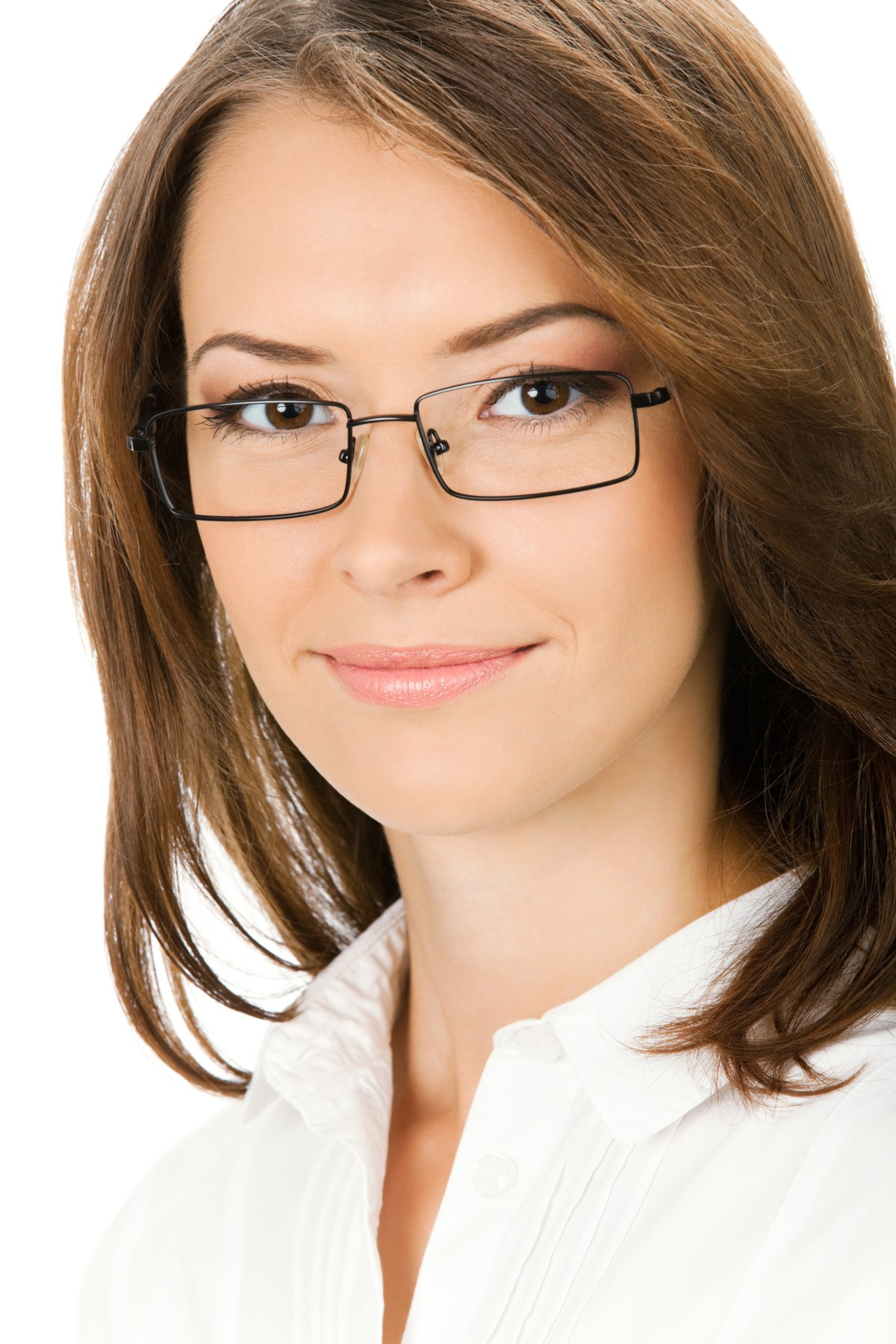 Portrait of happy smiling cheerful young business woman in glasses, isolated on white background